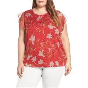 Vince Camuto Flutter Sleeve Wildflower Blouse